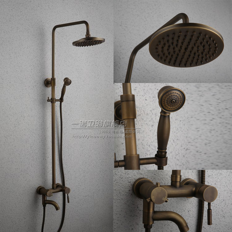 Bathroom Retro antique copper Solid Brass Bathtub Shower Set Wall Mounted Rainfall Shower Mixer Tap Faucet 3-functions Mixer Val