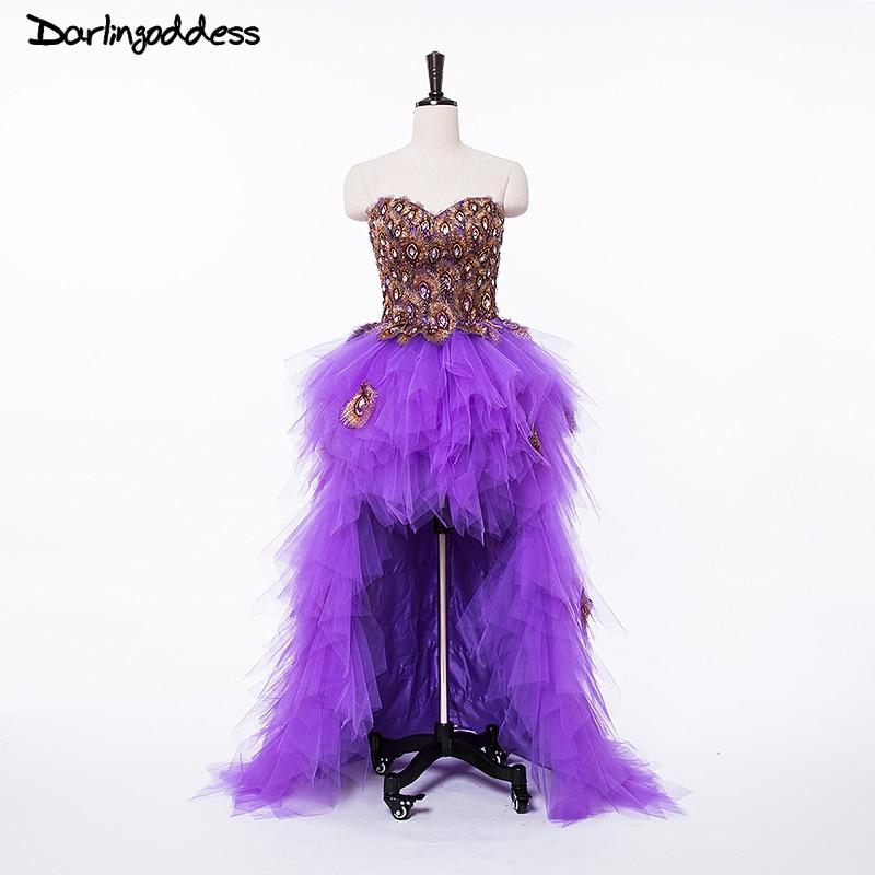 Пикантные фиолетовые короткое спереди и длинное сзади вечернее платье Павлин Милая спинки Для женщин особых случаев платья фотографии пла...