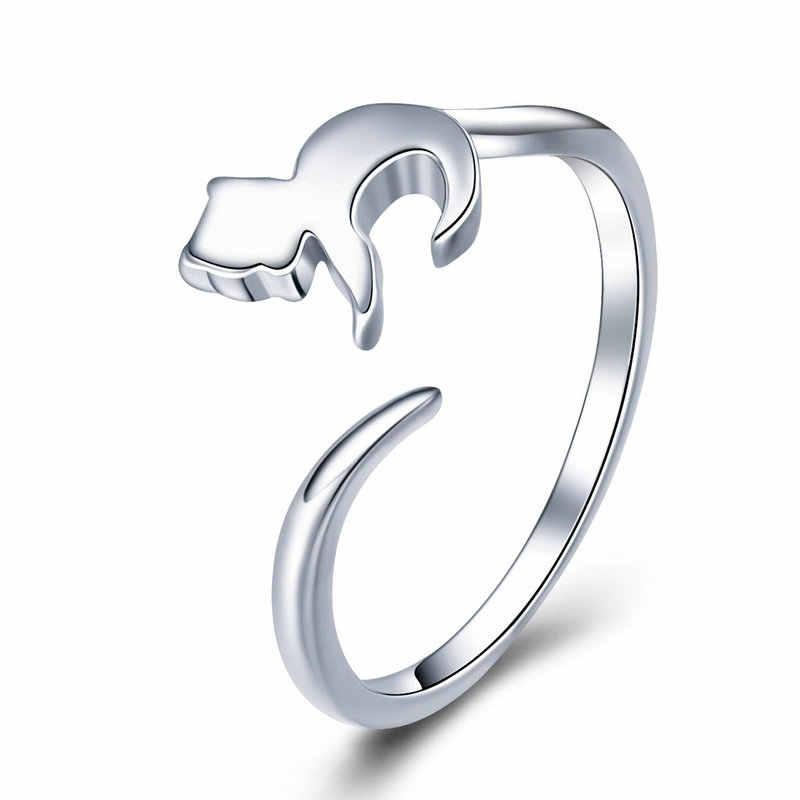 WOSTU 100% リアル 925 スターリングシルバーかわいい猫指女性のためのバンドリングの宝石類のギフト DXR341