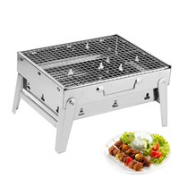 Portable Outdoor Barbecue Grill 430 Stainless Steel Folding BBQ Charcoal Grills for Campaing Pinnic Kebab Barbecue Oven