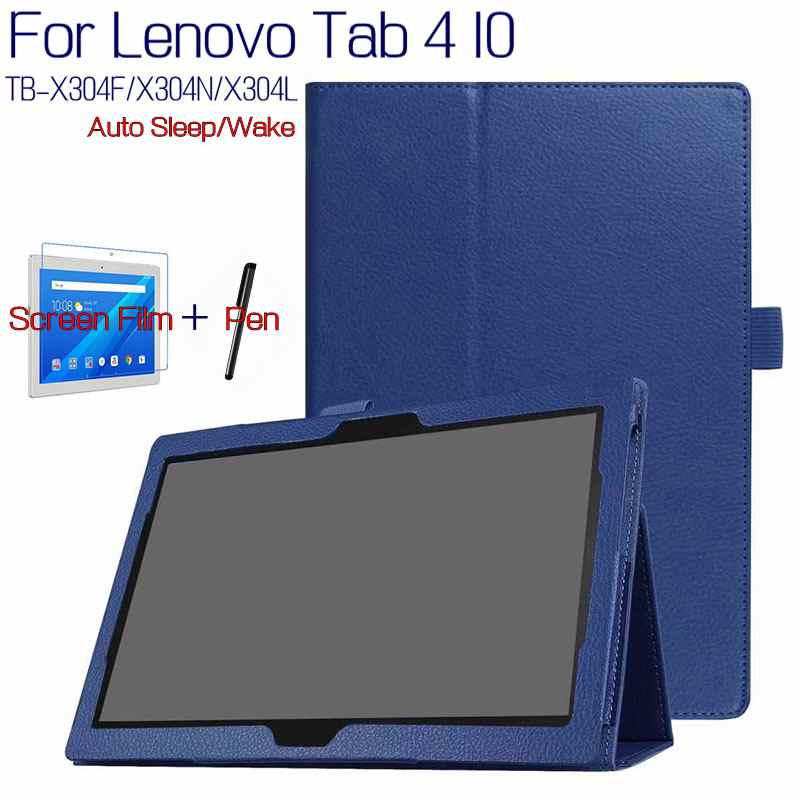 suporte-magnetico-inteligente-caso-de-couro-do-plutOnio-para-lenovo-tab-4-10-tb-x304f-x304n-x304l-101-tablet-funda-capa-protetor-de-tela-gratis-caneta