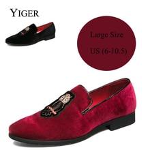 YIGER New Man instappers instapschoen teentjes schoenen Heren casual schoenen van katoenweefsel Zwart / rood Zacht en comfortabel 00088