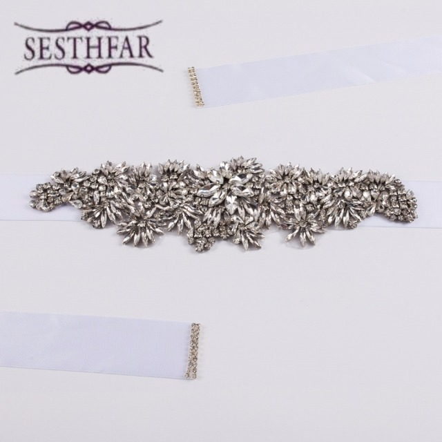 Pretty Luxurious Exquisite Bling Bridal Sash Crystal Rhinestone Cummerbunds Waistband Formal Wedding Evening Dress Belts