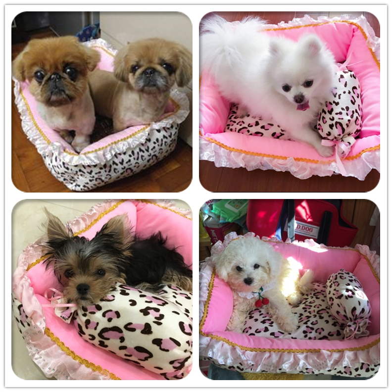 Pet Dog Bed Cute Pink Leopard Dog Bed House For Small Dogs Luxury