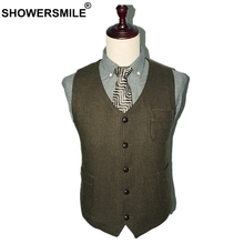 SHOWERSMILE Army Green Suit Vest Wool Male Waistcoat Tweed Slim Fit Sleeveless Jacket Men Vintage Blazer With Pockets