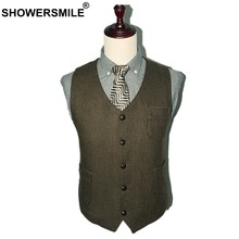 SHOWERSMILE Army Green Suit Vest Wool Male Waistcoat Tweed Vest Slim Fit Sleeveless Jacket Men Vintage Suit Blazer With Pockets(China)