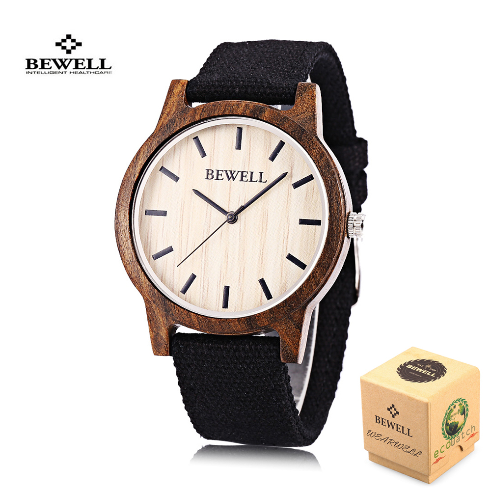 Hot Sell BEWELL Men Watches Sports Dress Casual Watch Women Natural Wood Bamboo Watch With Canvas Band Clock Relogio Masculino fashion lovers quartz watches women men casual analog watches natural bamboo wood watch leather band relogio masculino feminino