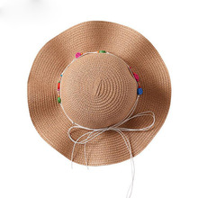 SUOGRY 2018 NEW Summer Girls Straw Hats for Kids Baby sun Hat with Flowers Children Big Sun Bonnet