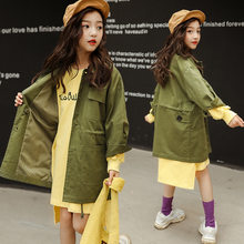 Trench Coat For Girls Kids Clothes Spring Jacket For A Teenager Solid Green Children's Trench Windbreaker For Teen 6 7 8 9 10 12(China)