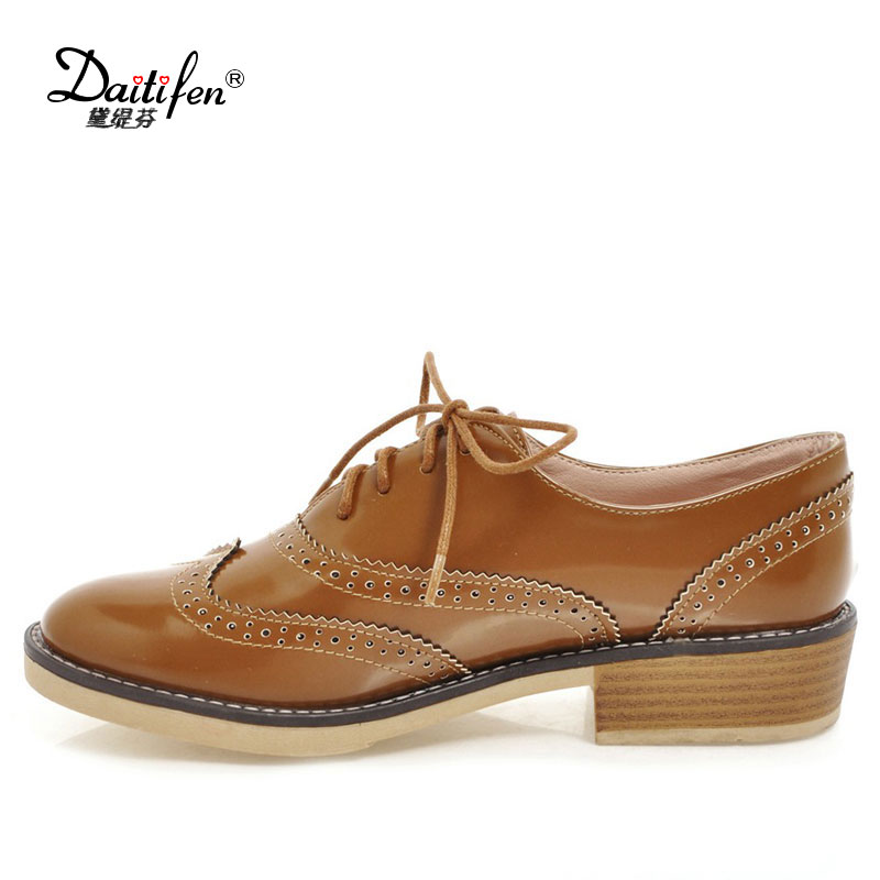 Daitifen PU Leather Retro Oxford Ladies Shoes Casual British Style Flats Brogues Shoes Woman Vintage Lace up Oxfords Women Shoes mnixuan british style woman shoes 2018