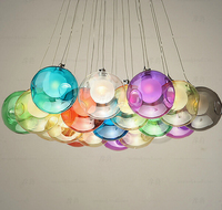 19 heads of stained glass bubbles chandelier ball double cover glass ball Restaurant LED lights, AC110 240V.