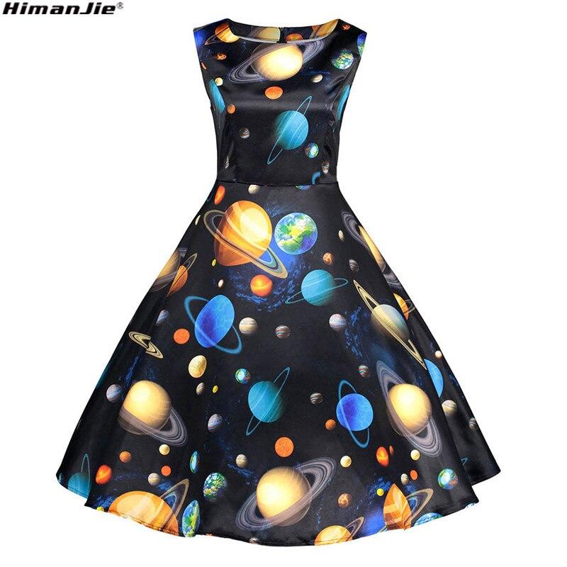 a1a5f262893e 2018 Vintage Starry Sky Planet Space astronomical print Dress Elegant  spring Sleeveless Party Midi Dresses Girl