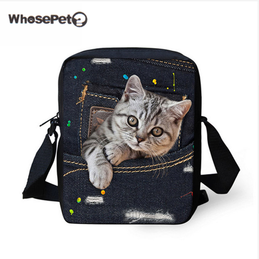 WHOSEPET Cat Bag Crossbody Bag for Women Handtasche Mini Shoulder Bag Bulldog Baobao Cute Cartoon Denim Bags Girls Handbag Totes high quality new summer designers mini cute bag children cat handbag kids tote girls shoulder bag mini bag wholesale bolsas
