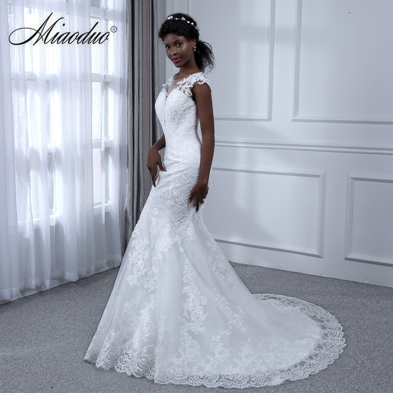 Miaoduo Vestidos De Noiva Princesa Sexy Mermaid Lace Dresses Wedding Womens Africa Bridal Gowns Backless Train Real Image