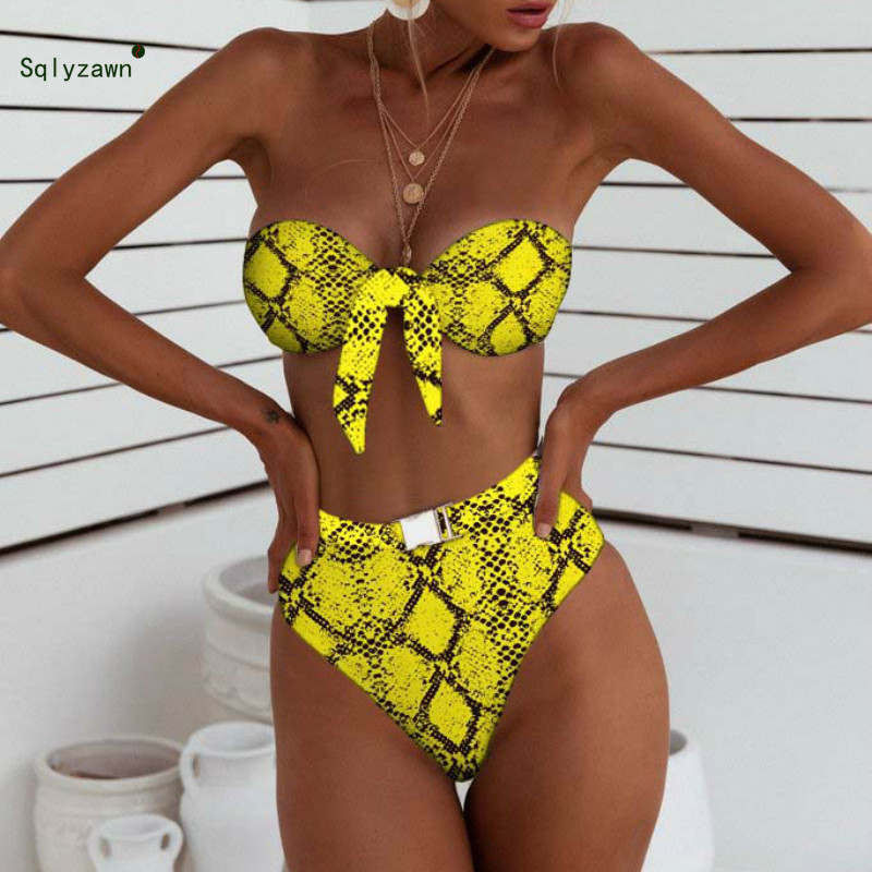 Women Summer <font><b>Sexy</b></font> Bandage <font><b>Buckle</b></font> Snake Leopard Solid 2 Piece Set <font><b>V</b></font> <font><b>Neck</b></font> Bow Bra <font><b>Crop</b></font> <font><b>Top</b></font> + High Waist Underwear Swimming Suits image