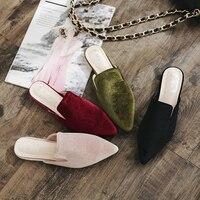 2018 Women Plain Embroidery Velvet Mules Slides Slipony Mule Slippers Platform Heel Flip Flops Sandals Chiara Ferragni Shoes