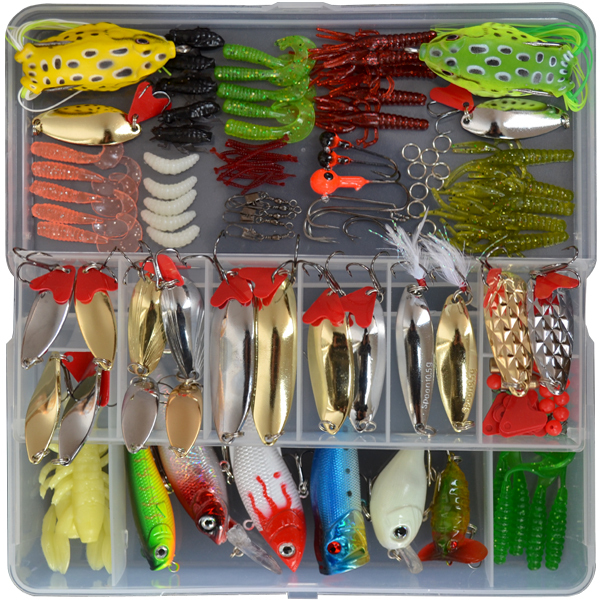 Free shipping ! 129 pieces New lure bait suit freshwater sea Lure soft bait lures sequins wholesale Ray frog suit 2 pieces of battery free shipping wholesale 100