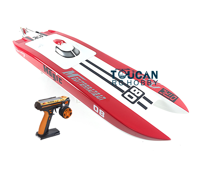 E32 RTR Germany Cat Fiber Glass Electric Racing Speed RC Boat W/120A ESC/3200KV Brushless Motor/Radio System-RED e22 rtr tiger teeth fiber glass racing speed boat w 2550kv brushless motor 90a esc remote control catamaran rc boat white