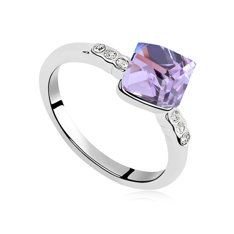 Violet Ring With Small Cubic Stone Design Austrian Crystal Simple Ring Wedding Gifts Jewellery Bride Bridegroom Rings 5 Colors