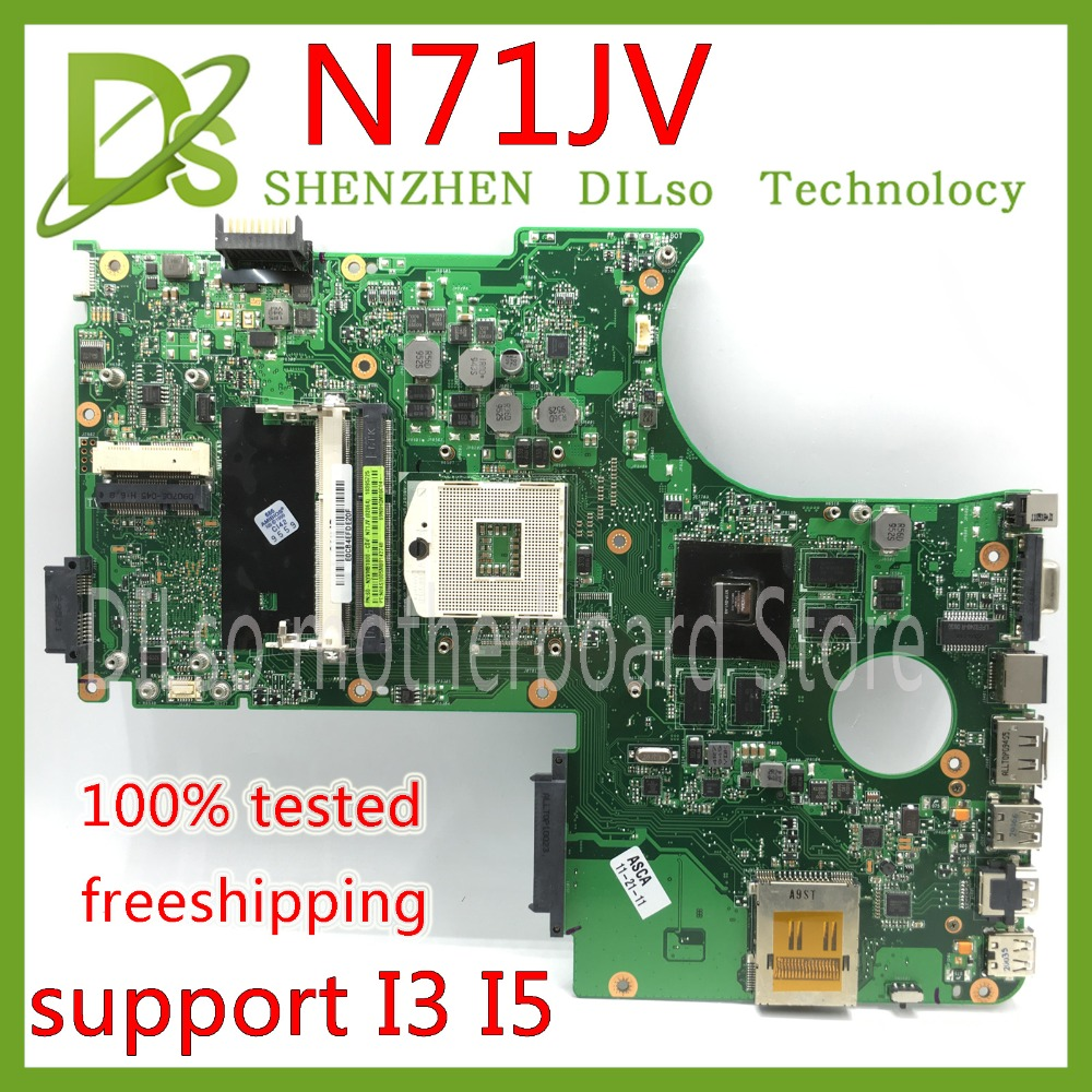 KEFU N71JV For ASUS N71JV M/B mainboard can Support I3 I5 CPU laptop motherboard Test work 100% original