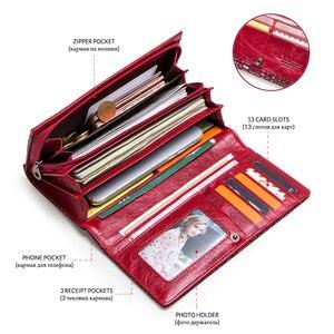 Image 4 - Luxus Marke Frauen Kupplung Brieftaschen Aus Echtem Leder Schlange Muster Druck Lange Geldbörse Weiblichen Handy Halter Tasche Dollar Preis