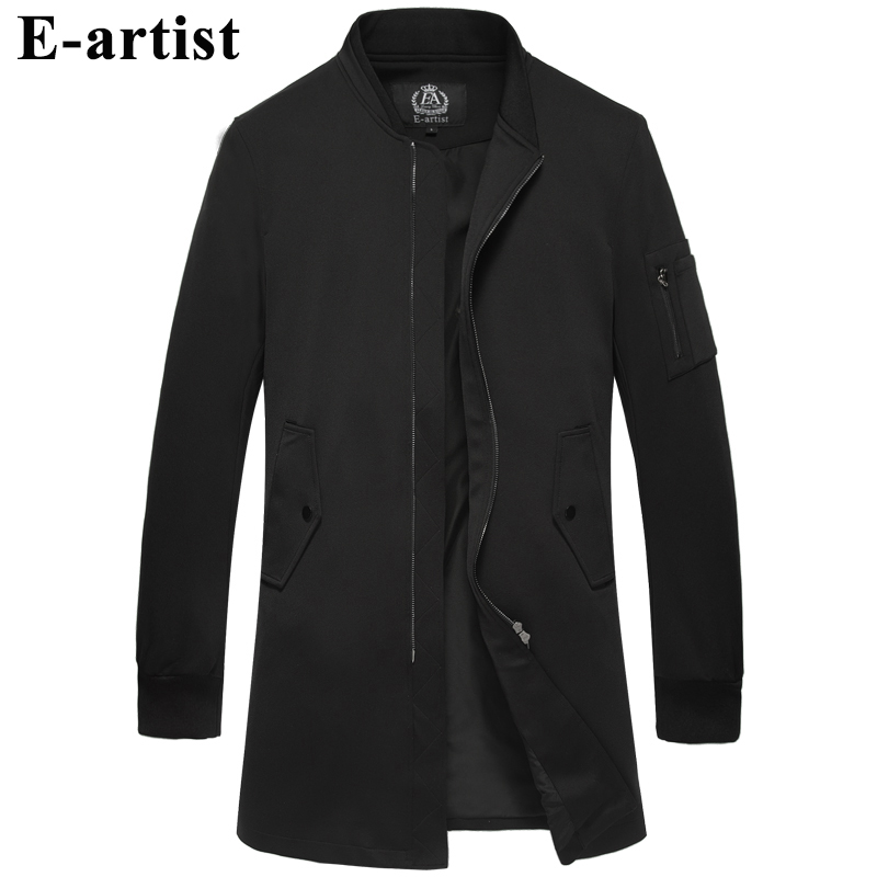 Men's Stand Collar Long Zipper   Trench   Coats Spring Autumn Outwear Overcoats Male Slim Fit Casual Jackets Windbreakers F42