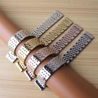 18 ملليمتر 19 ملليمتر 20 ملليمتر 21 ملليمتر watchband رجل إمرأة عالية الجودة ستانلس ستيل باند الفضة الذهب rosegold ساعة سوار الشريط استبدال