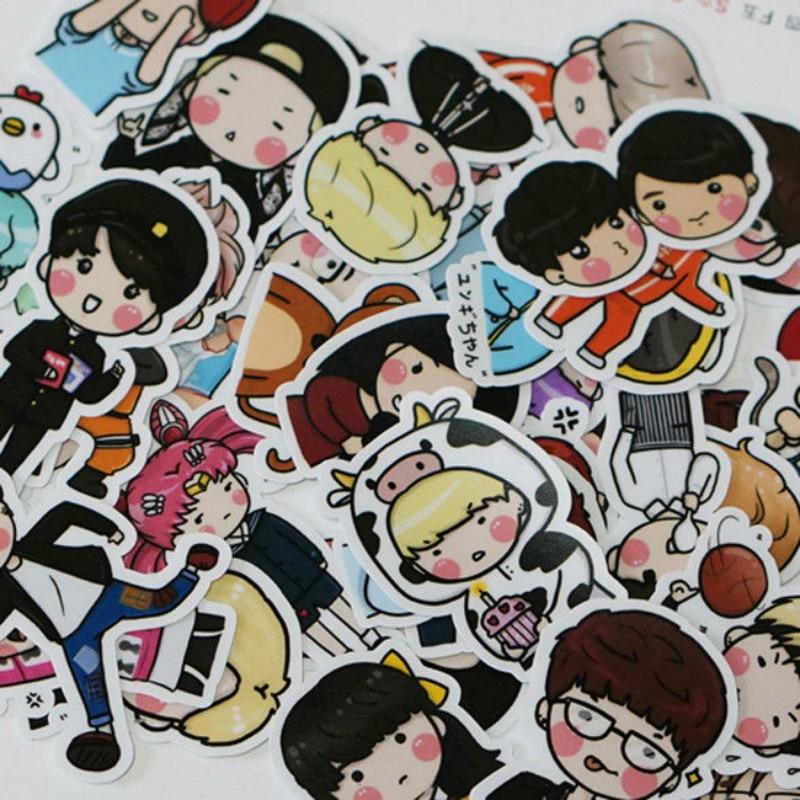 Original Kpop Bts Got7 70pcs/set Bangtan Boys Cartoon Cute Decal Stickers Scrapbooking Fans Gift Collection Waterproof Classic Toys Shock-Resistant And Antimagnetic