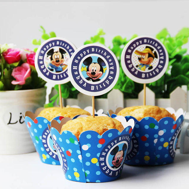 12set Mickey Mouse Cupcake Wrappers And Toppers Kids Birthday Party