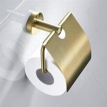 LIUYUE rulo kağıt havlu tutucu fırçalanmış altın paslanmaz çelik kolye kağıt kanca havlu askısı kağıt rulo tutucu donanım kapaklı