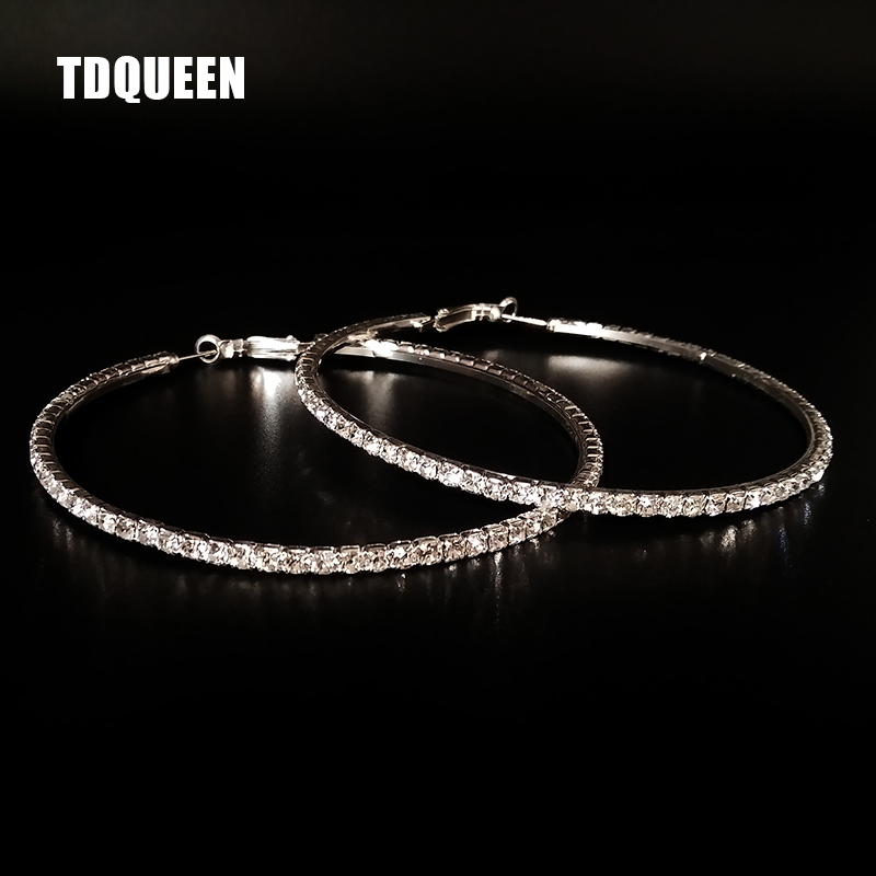 1ec132946 TDQUEEN Hoop Earrings For Women Silver Plated Huggie
