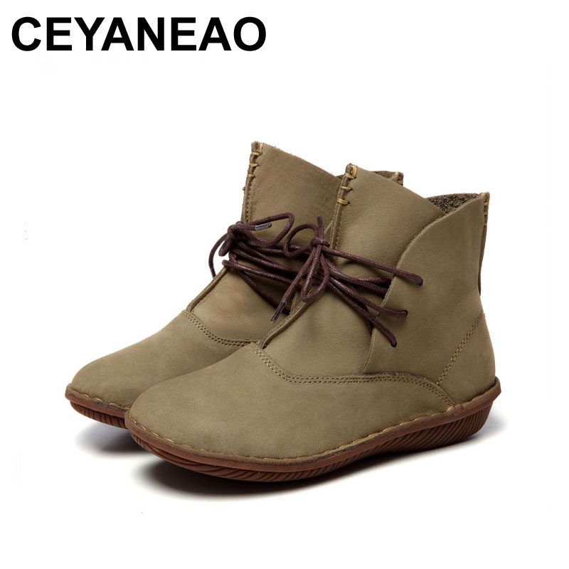 CEYANEAO 2018 Women Shoes Female Genuine Leather Boots Handmade Vintage Literary Style Ankle Lace-Up Fashion 506-LCEYANEAO 2018 Women Shoes Female Genuine Leather Boots Handmade Vintage Literary Style Ankle Lace-Up Fashion 506-L