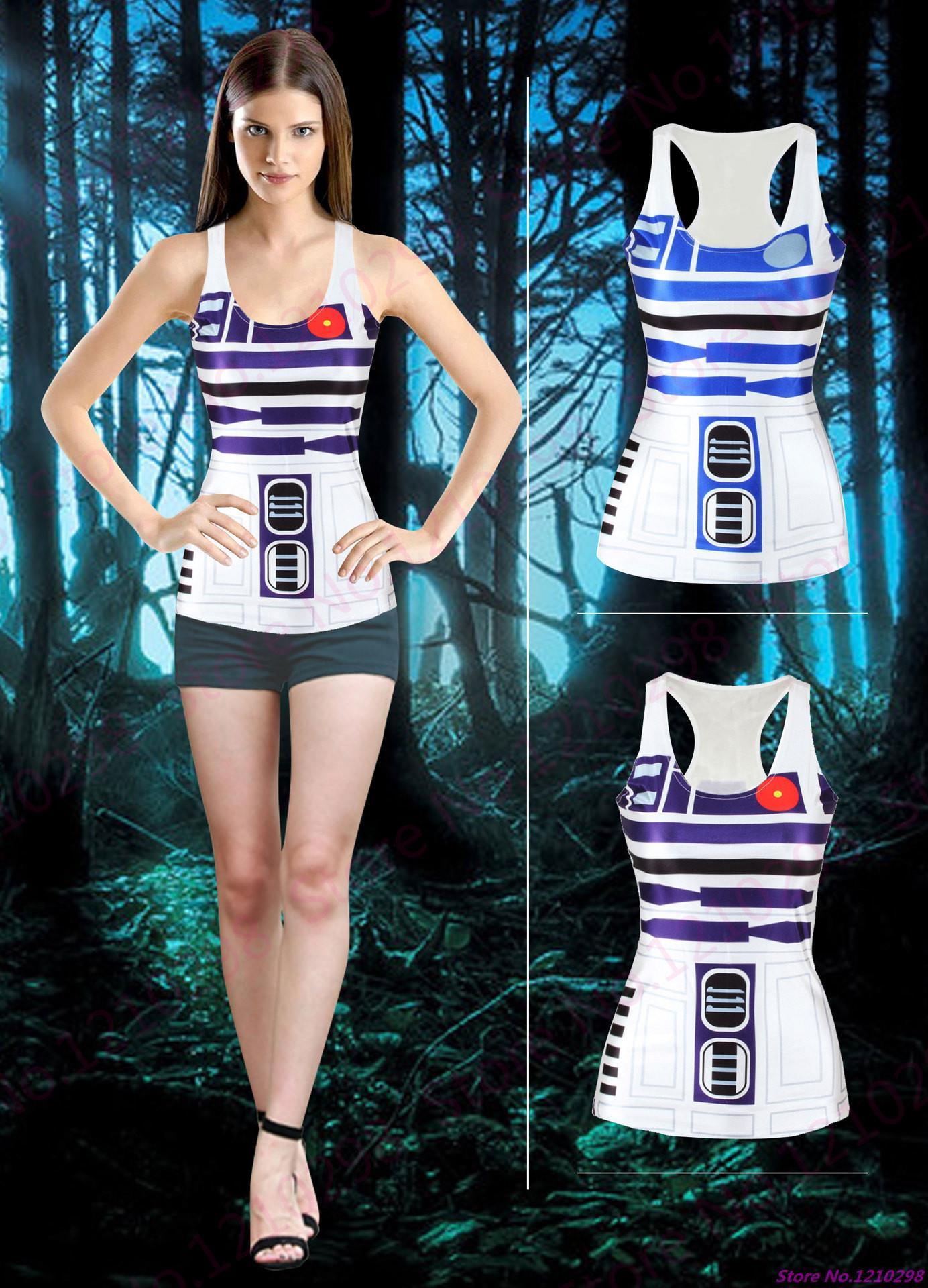 7885d17a0d7c4 Star wars robot yoga shirts running singlet white blue stripe jpg 1384x1920  R2d2 women