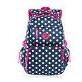 Polka dot azul oscuro mochila kids bolsa niños mochilas mochilas escolares para adolescentes mochila escolar chica rojo mochila a prueba de agua