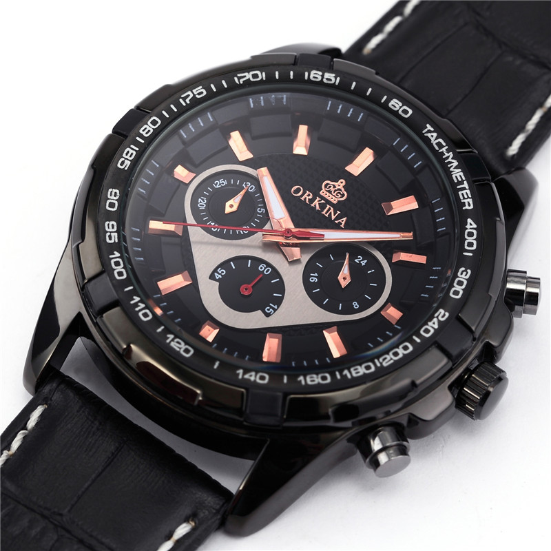 2017 mg orkina fashion men s crystal quartz stopwatches stainless steel wristwatch gift with box free ship ORKINA Fashion Casual Men Clock Black Stainless Steel Case Male Watches Japan Quartz Movement Water Resistant erkek kol saati