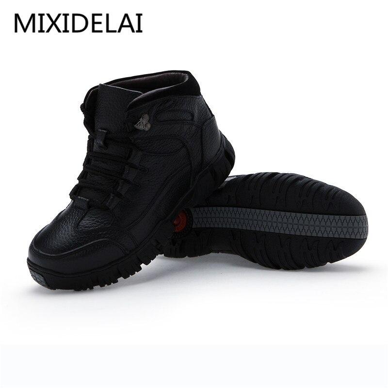 MIXIDELAI Super Chaud Hiver Hommes Bottes bottes en cuir véritable Hommes Chaussures D'hiver Hommes Militaire bottes en fourrure Pour chaussures pour hommes Zapatos Hombre - 3