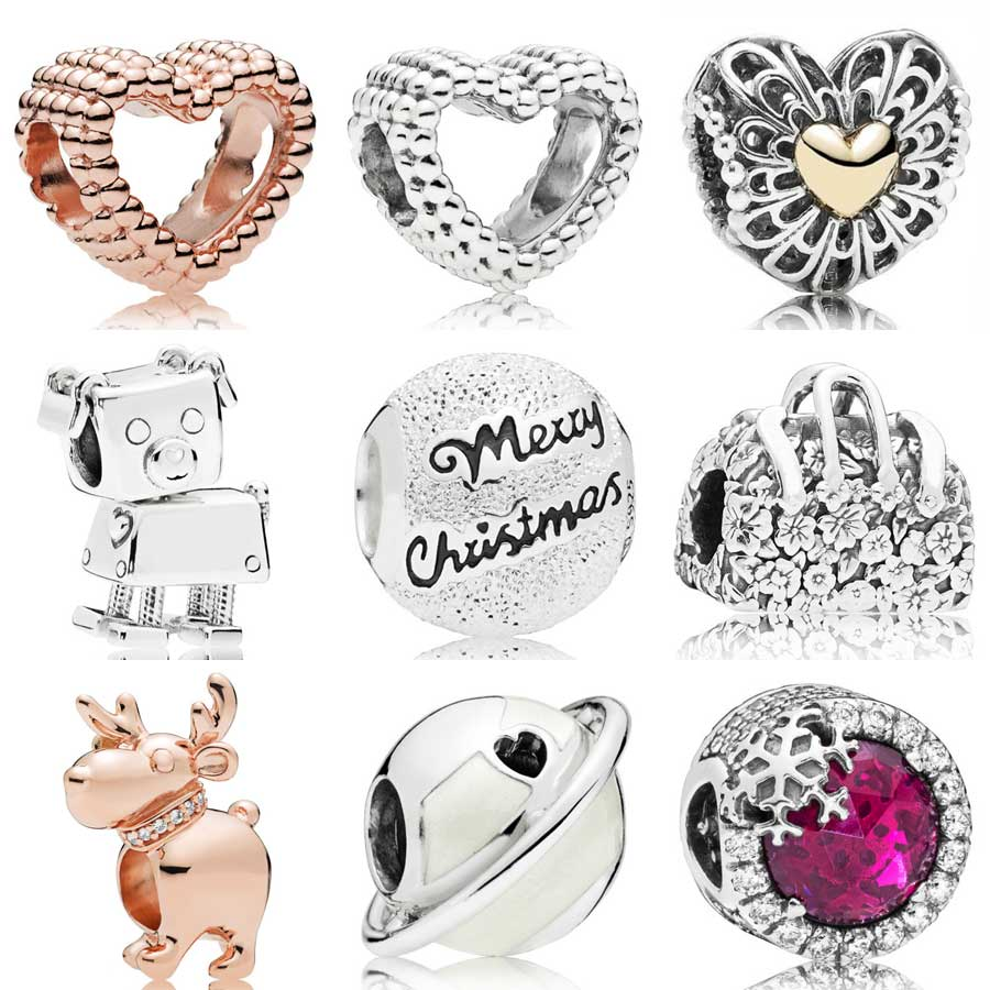 Real 925 Sterling Silver Charms Heart Shape My Dog Footprints Beads Fit European Bracelet Charms Pendant Fashion Jewelry Making Excellent In Cushion Effect Jewelry & Accessories Beads