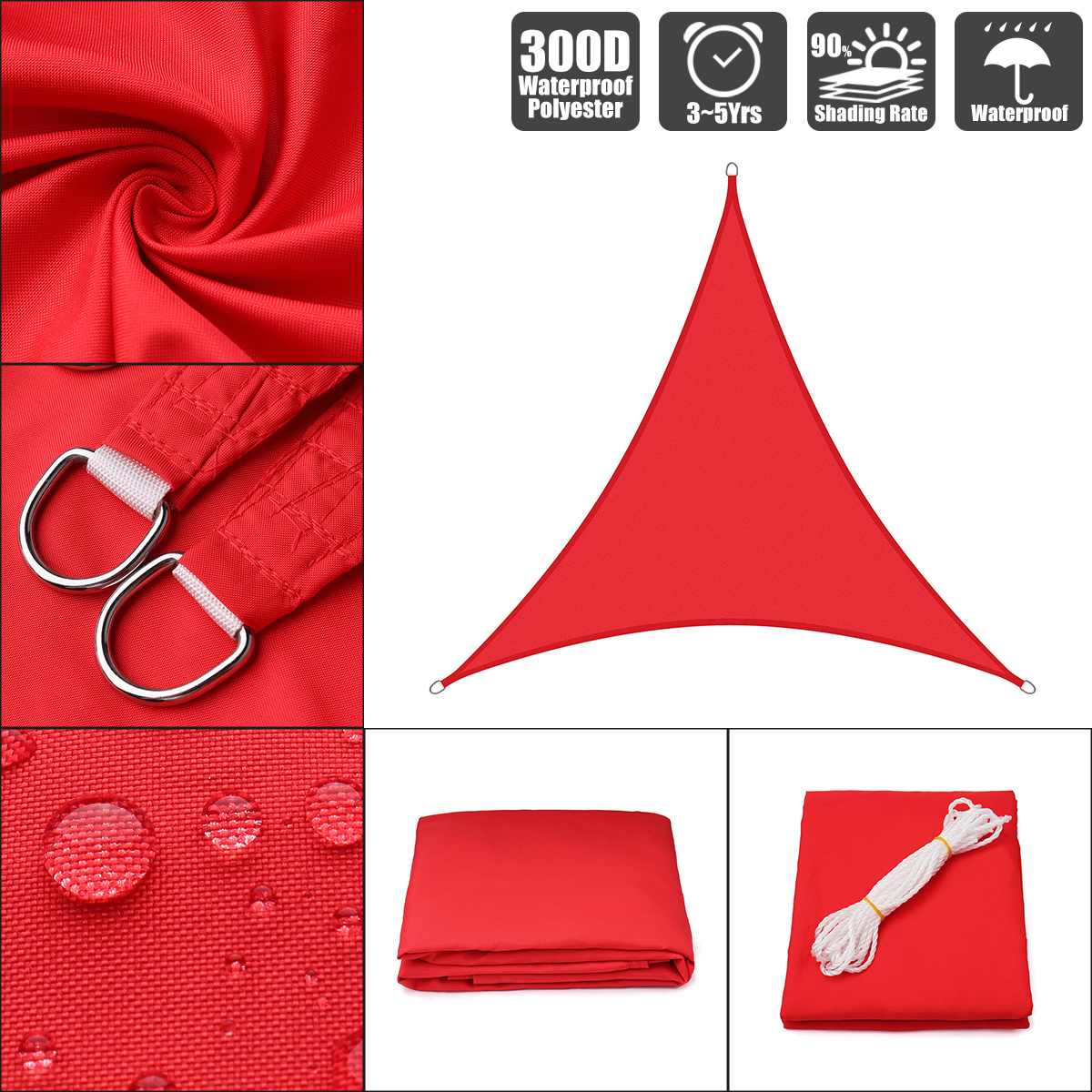 3x3x3 4x4x4 3x3x4.3 Bright red 300D polyester oxford equilateral right triangle visor sail pool cover sunscreen tent waterproof Shade Sails & Nets     - title=