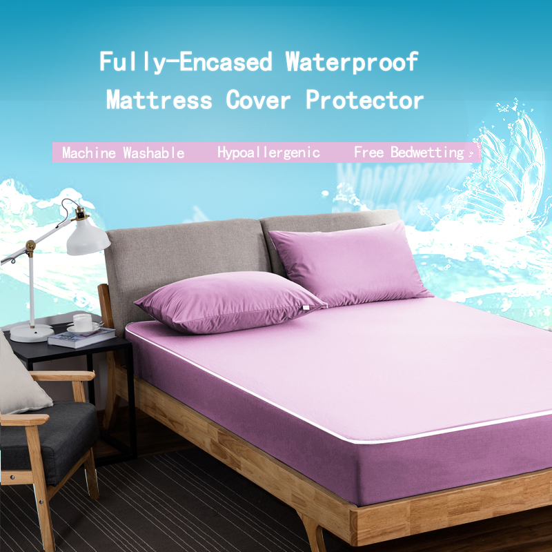 Blue Pink 160x200cm Zippered Mattress Encasement Cover Waterproof Mattress Protector Bed Sheet Hotel Mattress Zipper Bed Cover