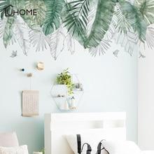 Fresh Natural Green Tropical Raffia Tree Leaves Wall Sticker Vinyl DIY Mural Art Sticker for Living Room Bedroom Wall Decals