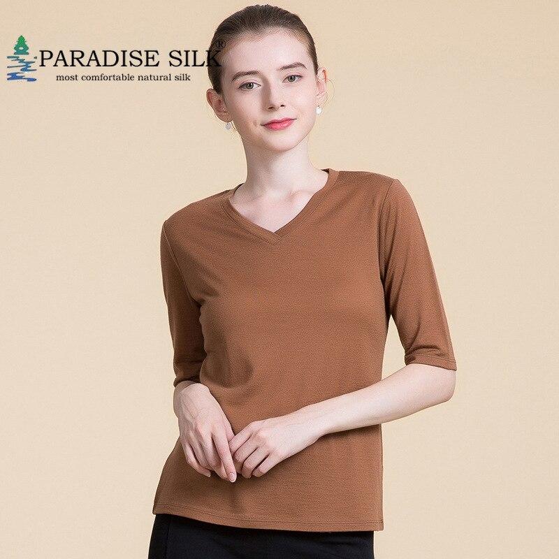 Chemise à manches longues femmes 100% laine pull pull col en V demi manches taille M L XL XXL
