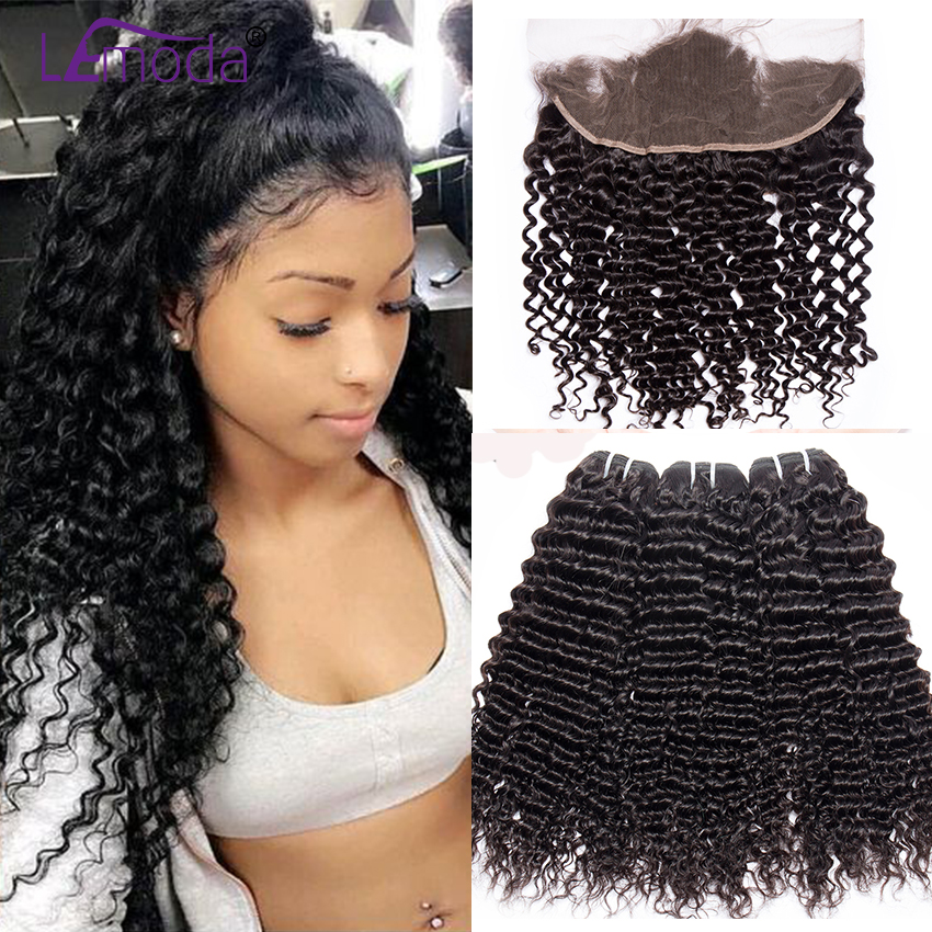 Brazilian Deep Wave Human Hair 3 Bundles With Lace Frontal Closure LeModa Non Remy Deep Wave Frontal With Bundles Extensions