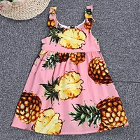 Girls Dress Summer Bohemian Beach Sundress Bowknot Spaghetti Strap Dresses Zipper Pineapple Print Dress For Girls
