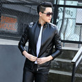M-5XL Plus Size Men's Leather Jacket Fashion Slim Stand Collar Motorcycle PU Leather Coat For Male High Quality 2017 New