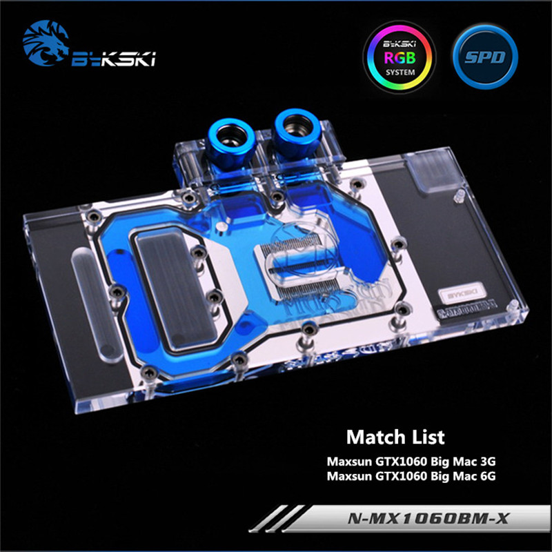 Bykski Full Coverage GPU Water Block For Maxsun GTX1060 Big Mac 3G 6G Graphics Card N-MX1060BM-X bykski full coverage gpu water block for maxsun gtx1080 super jetstream graphics card n mx1080sjm x