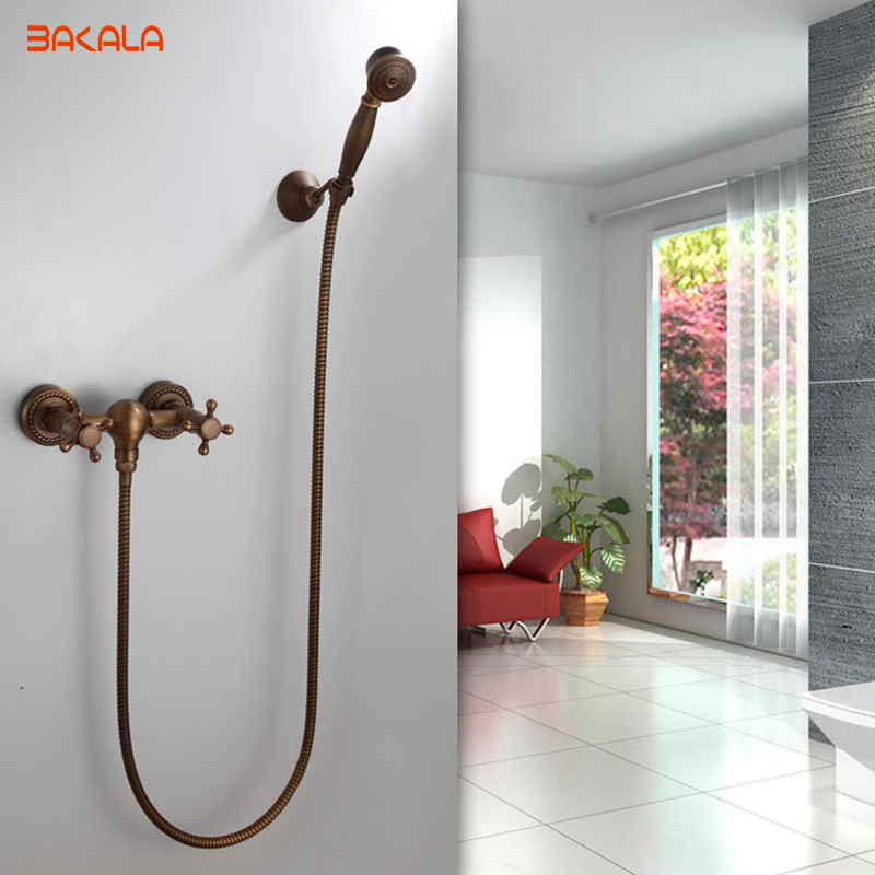 DHL Free Shipping ! Luxury NEW Antique Brass Rainfall Shower Set Faucet + Tub Mixer Tap + Handheld Shower Wall Mounted HY-697 8 inch rainfall bathroom shower faucet set antique brass finish wall mounted single handle mixer tap handheld shower wrs059