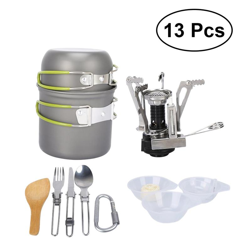 13-piece Durable Lightweight Nonstick Stackable Compact Camping Mess Kit Camping Cookware Set For Backpacking Hiking Nourishing Blood And Adjusting Spirit