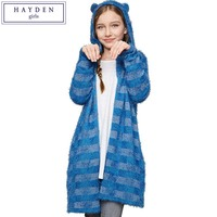 FAMIFAMI Teen Girls Knee Length Long Cardigans Kids Hooded Striped Mohair Cardigan Sweater Children S Knitted