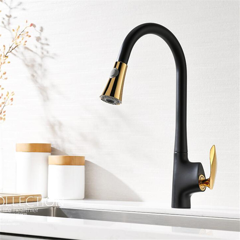 Kitchen Sink Faucets Brass Pull Out Kitchen Mixer Tap Single Handle Hot & Cold Kitchen Mixer Crane Tap Black Rotating FaucetKitchen Sink Faucets Brass Pull Out Kitchen Mixer Tap Single Handle Hot & Cold Kitchen Mixer Crane Tap Black Rotating Faucet