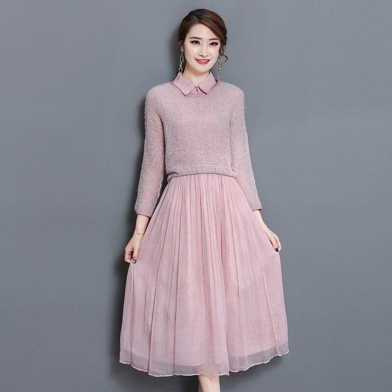 2019 Fashion Pink Elegant Dress With Pullover Women Two Piece Sleeveless Maxi Summer Dress Jurk Sundress